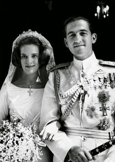 King Constantine II of Greece and Princess Anne-Marie of Denmark. DEPOSED IN 1973
