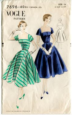 1950s Vogue 7805 vintage sewing pattern evening cocktail swing dress Bust 32 B32 Waist 26 fitted bodice