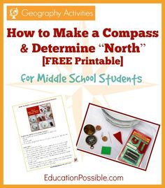"""Geography Activities: How to Make a Compass and Determine """"North"""" [FREE Printable]"""