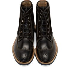 Paul Smith Jeans Black Leather & Suede Wingtip Pearl Boots