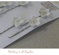 Set of Six Flower Hair Bobby Pins Paper by stitchingitalltogether