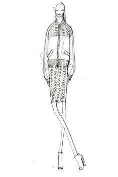 Fashion Sketch - fashion drawing; black & white fashion illustration of DKNY…
