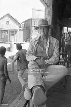 """Charles Bronson on the set of the film """"Once Upon a Time in the West""""."""