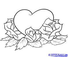 How to Draw Hearts and Roses, Step by Step, Tattoos, Pop Culture ...