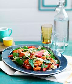 Crisp salmon with mint and pickled watermelon rind salad - Gourmet Traveller