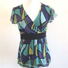 Women's Apt 9 Mesh V-Neck Faux Wrap Shirt Blue Green Aqua Geometric Sz Petite S #Apt9 #Wrap #Casual