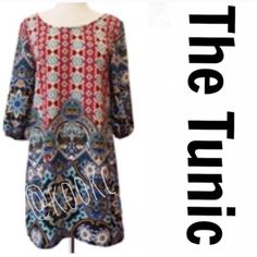 """BEAUTIFUL PRINTED TUNIC Absolutely beautiful tunic! Scoop neck with 3/4 billowy sleeves. The back of the tunic is hollowed out at the top for extra umph. Pffs pair this with leggings, jeggings, skinnies or skinny bells. Cute with boots or sandals. Look in my closet for jewelry ideas. Get my attention if you need help ▪️SMALL▪️B:17.5"""". W:19"""" H:21"""" SLV L:16"""" SLV H:9"""" Ec:4"""" S-H:33"""" ▪️MED▪️B:18"""" W:19.5"""" H:21.5"""" SLV L:16"""" SLV H:9.5"""" Ec:4.5"""" S-H:33.5"""". ▪️LARG▪️B:19.5"""" W:20"""" H:34"""" SLV L:16"""" SLV…"""