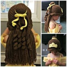 Princess Belle inspired crochet beanie hat/wig by leigh