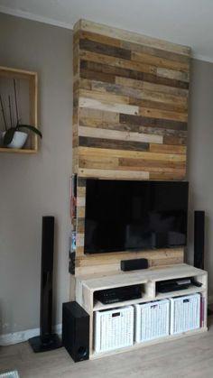 Mur En Bois De Palettes / Entertainment Center Wall TV Stand & Rack Wall…