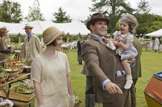 Daisy Lewis (Sarah Bunting) - - Tom Branson (Allen Leech) and daughter Sybbie - - Downton Abbey,series four