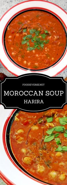 Harira is a Moroccan soup traditionally eaten during Ramadan. It is healthy and filling, loaded with lentils, chickpeas, meat, tomatoes and spices.