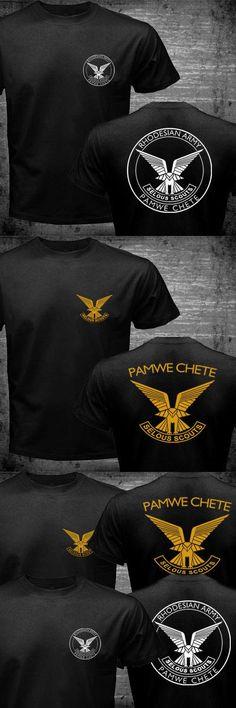 Rhodesian Zimbabwe Army Selous Scouts Pamwe Chete Logo Special Forces T-shirt Men's Dry Fit Cotton Tops Tee Shirts Plus Size