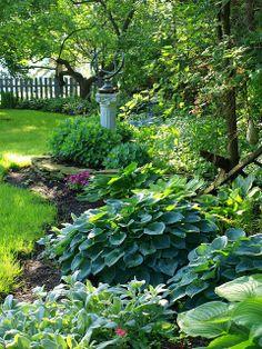 rododendros,hortensias,calas,azalea ...buena combinación para jardines sombreados y muy humedos