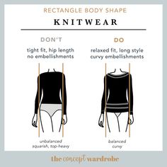 Rectangle Body Shape Knitwear Do's and Don'ts - the concept wardrobe Triangle Body Shape, Rectangle Shape, Pear Body, Love Handle Workout, Athletic Body, Broad Shoulders, Types Of Fashion Styles, Inverted Triangle, Dressing