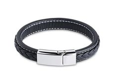 Wide Black Braided Leather Bracelet for Men Genuine Leather Wristband with Magnetic Box Clasp 316L stainless steel Men gifts Hot