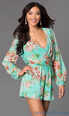 Floral Print Long Sleeve V-Neck Romper at SimplyDresses.com