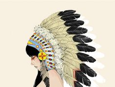 Part of charmaineolivia's 50 States Collection. Love. #digitalprint #native american #headdress #feathers #illustration #tribal #new Mexico #50 states #art #wall art #print $30.00