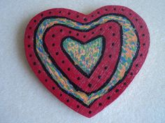 Magnet Wooden HEART Tie Dye w/Red & Black by JamieDollJewelry