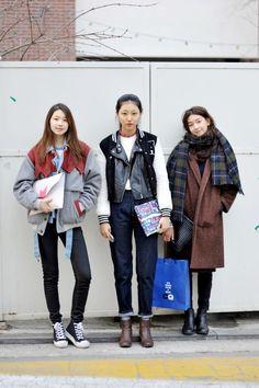 "koreanmodel: "" Streetstyle: Kim Jin Kyung, Park Sun Ha and Lee Ho Jeong shot by Choi Seung Jum """