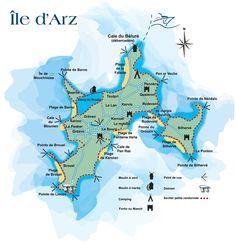 Retrouvez la carte des randonnées pour vous promener sur l'île d'Arz dans le golfe du Morbihan. Profitez d'une sortie iodée & sympa en Bretagne sud !