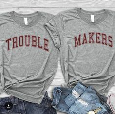 Trouble Makers shirt best friends tshirt matching birthday gift shirt best friends gift bst friends matching tees best friends for 2 Bff Shirts, Cute Shirts, Friends Shirts, Best Friend Pullover, Best Friend Hoodies, Best Friend Outfits, Best Friend Gifts, Best Friend Clothes, Best Friend Stuff