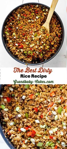 This New Orleans style Dirty Rice recipe is made perfectly with fragrant rice, hearty browned meat, seasoned vegetables and Creole and Cajun spices making it the best you will ever taste! The result is a spicy, well-seasoned rice dish that screams Cajun d Seasoned Rice Recipes, Brown Rice Recipes, Cajun Recipes, Haitian Recipes, Louisiana Recipes, Donut Recipes, Slow Cooking, Cooking Recipes, Best Dirty Rice Recipe