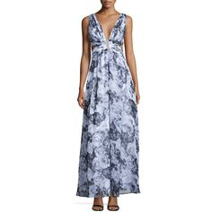 Aidan Mattox Sleeveless Floral-Print Gown ($225) ❤ liked on Polyvore