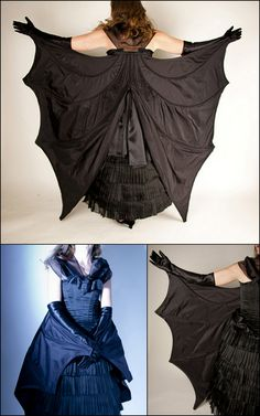 DIY Bat Dress Pattern from EvaDress.This is an advanced sewing project Inspired by the illustration Travestissement Chauve-Sourisin in La mode Illustrée, Journal de la Famille, 1887 • The $28 pattern...