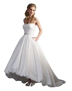 $232  Ever Beauty High-Low Tea Length Bubble Hem Beaded Lace Sweep Train Wedding Dress Ivory Size 8 Ever Beauty,http://www.amazon.com/dp/B00JYFG6EG/ref=cm_sw_r_pi_dp_y2BDtb04XQ8N65NT