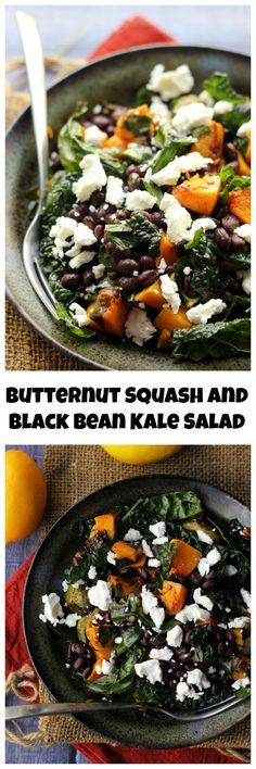 Sweet, spicy, smoky, and earthy is the best way to describe this butternut squash and smoky black bean kale salad.