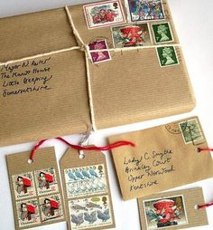 Cute Gift Wrap.... old stamps and brown paper, tied with string.
