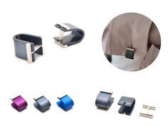 Affinor cufflinks - 2 part cufflink wraps around shirts edge. Silver & anodised aluminum. Designed & made by Filip Vanas www.filipvanas.com