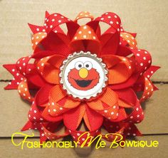 Elmo Boutique Stacked Bottlecap Bow by FashionablyMeBows on Etsy, $7.00