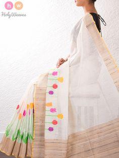 White Handwoven Linen Silk Cutwork Brocade Saree Pinned by Sujayita