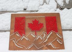 Canada Mountains String Art String Art Templates, String Art Patterns, Canada Mountains, Fun Crafts, Arts And Crafts, Nail String Art, Thread Art, Canadian Art, Artist Trading Cards