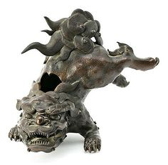 19th Century Japanese Foo dog A black patinated bronze sculpture
