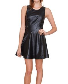 +Punched faux leather sleeveless dress features princess seams tailor the bodice #specialsale