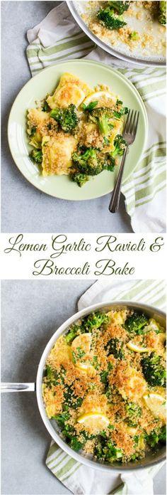 Lemon Garlic Ravioli and Broccoli Bake Rezepte hausgemachte Gourmet Easy Pasta Dinner Recipes, Healthy Dinner Recipes, Vegetarian Recipes, Vegetarian Dinners, Healthy Dishes, Easy Dinners, Healthy Options, Quick Meals, Gourmet