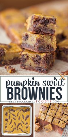 Pumpkin Swirl Brownies, homemade from scratch with chocolate chips, are moist, incredibly delicious, and possibly the best fall dessert I've ever had! Homemade Desserts, Delicious Desserts, Dessert Recipes, Dessert Bars, Baking Recipes, Chocolate Chips, Chocolate Recipes, Delicious Chocolate, Cobbler
