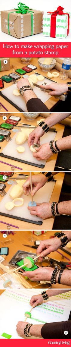 How to make custom wrapping paper using a potato -- yes, a potato! @Jodi Kahn show us how: http://www.countryliving.com/crafts/how-to-make-potato-wheel-wrapping-paper    #pinspirationparty