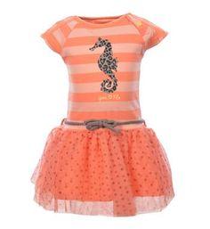 Flo Baby jurk, model Aura, in een streepdessin en tule rokje - Powder/melon - NummerZestien.eu