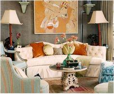 Living Room - cream w/ blue & orange accents