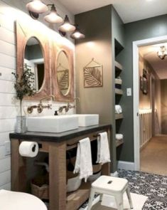 38 Modern Farmhouse Design for Bathroom Remodel Ideas. You may want to change your bathroom to something more traditional and fitting for your residence. A bathroom holds daily essentials which may no. Modern Bathroom, Small Bathroom, Master Bathroom, Bathroom Ideas, Glass Bathroom, Bathroom Cabinets, Mosaic Bathroom, Brown Bathroom, Bathroom Vanities