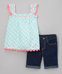 Love this Mint Chevron Scalloped Top & Shorts - Infant, Toddler & Girls on #zulily! #zulilyfinds