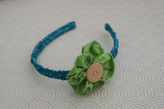 Blue and White Polka Dot Ruched Headband with Green and White Polka Dot Button Flower