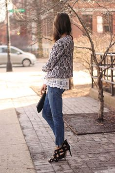 Patterned tea jacket with straight jeans and heels