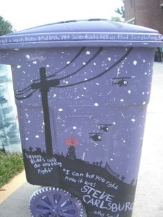 Awesome WTNV painted trash can<<<< where I belong because I am Night Vale trash Painted Trash Cans, Night Vale Presents, Glow Cloud, The Moon Is Beautiful, Dog Park, I Fall In Love, Good Night, Nerdy, Geek Stuff