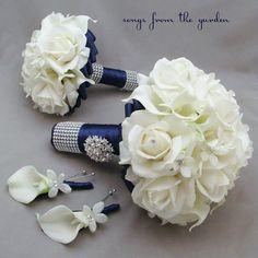 Navy White Wedding Flower Package Bridal by SongsFromTheGarden, $290.00