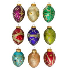 "3"" Set of 9 Russian Style Faberge Eggs Glass Christmas Ornaments"