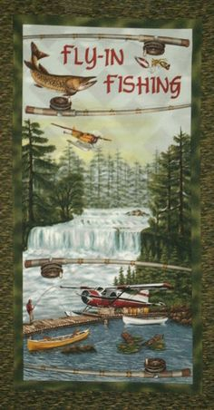 Sport Fishing Fly In Cotton Panel 22x42 by by TheQuiltedNursery, $6.99